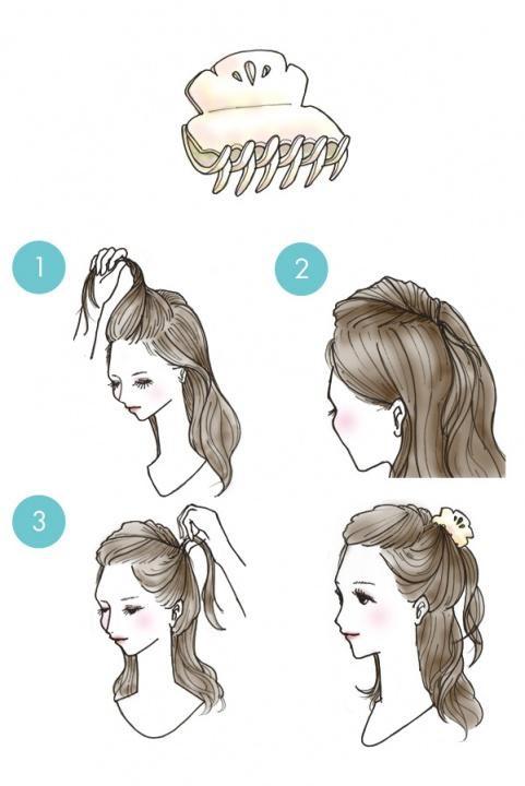 Схема простых причесок на средние волосы